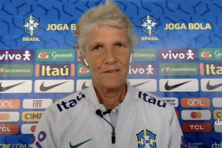 Técnica Pia Sundhage, técnica da Seleção Brasileira feminina, fala sobre denúncia de assédio sexual e moral contra Rogério Caboclo, presidente da CBF