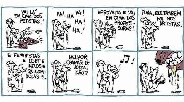 Quadrinhos do cartunista Laerte: um resumo fiel do Brasil de 2017.