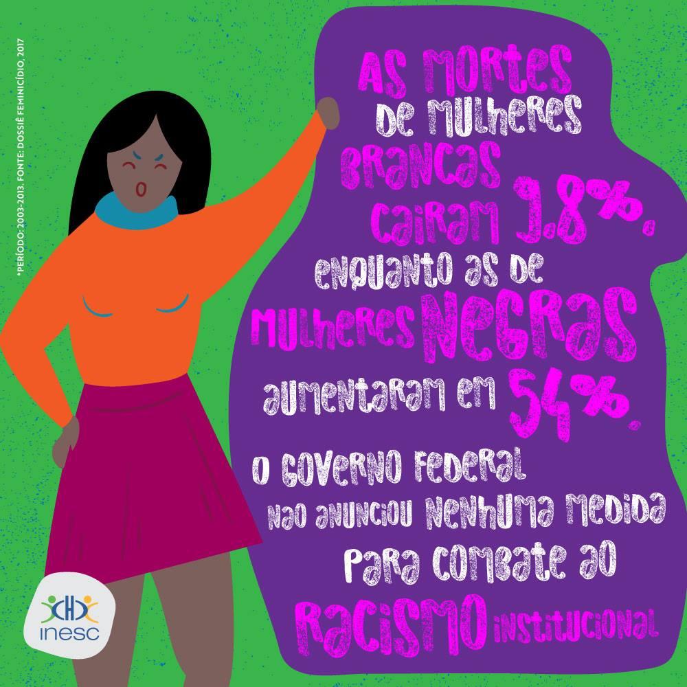 De acordo com as estatísticas do Mapa da Violência no Brasil, 2016, o aumento dos assassinatos de mulheres negras chegou a absurdos 54%.