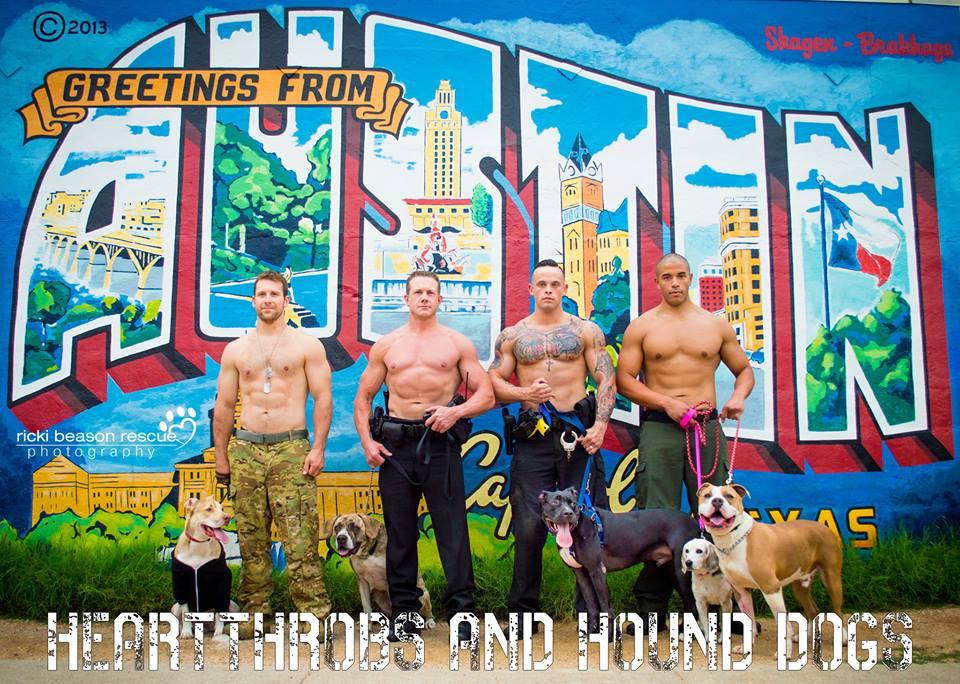imagem de militares veteranos e policiais americanos com animais resgatados.Projeto de uma fotógrafa que produz calendários com o propósito de ajudar a adoção de animais