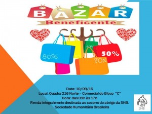 Cartaz do bazar beneficiente com renda em prol da SHB-bicho