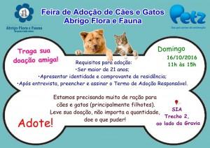 imagem mostra cartaz de feira de adoção de bichos