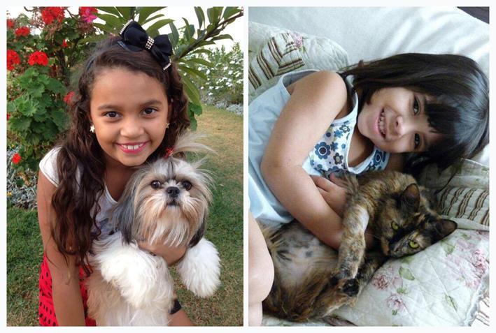imagem mostra crianças com seus pets.Adotar um pet