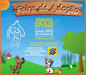 cartaz da feira de adoção de bichos da SHB
