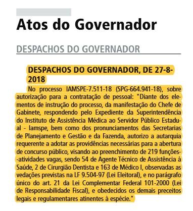 Foto: Reprodução/Diário Oficial SP