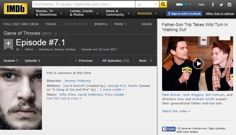 Print do site IMDB com data de estreia de Game of thrones
