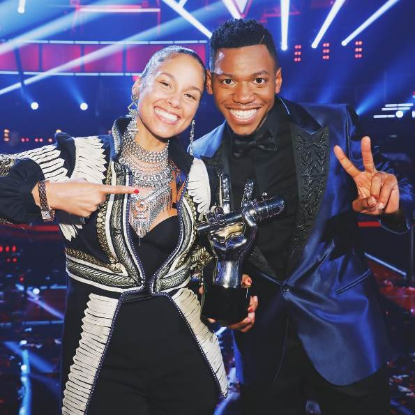 Alicia Keys e Chris Blue, vencedor do The voice US