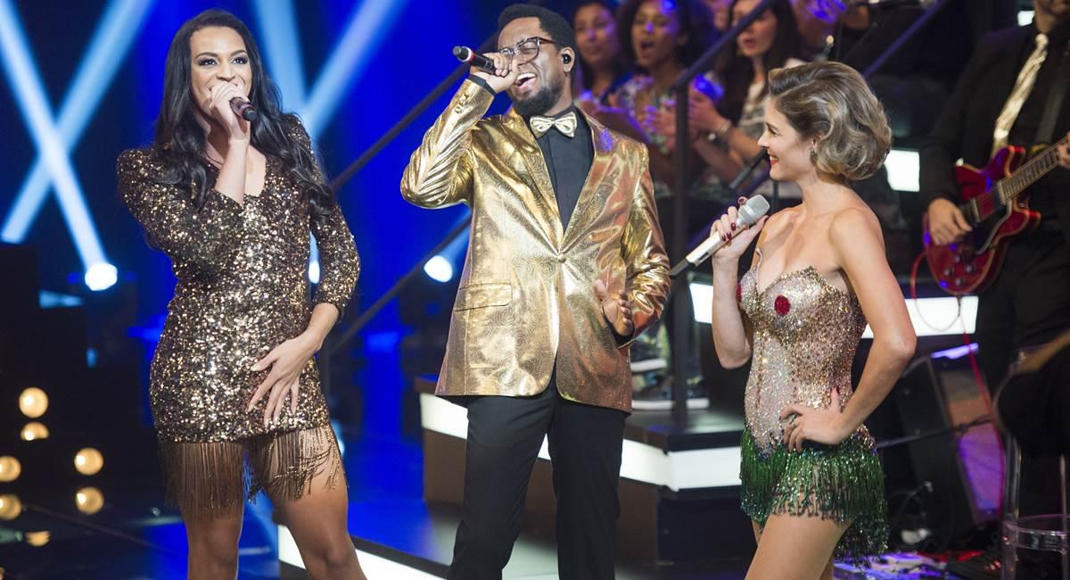 Vocalistas da banda Amor & sexo Pabllo Vittar, Régis Paulino e Fernanda Lima