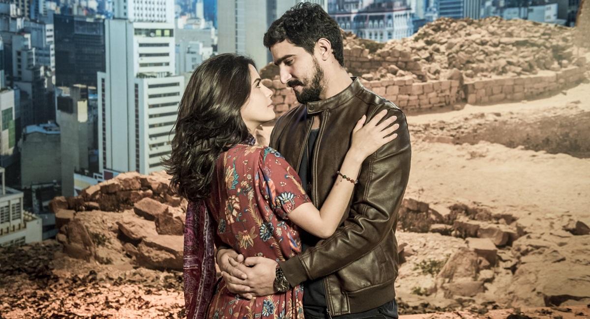Personagens Laila e Jamil na novela Órfãos da terra