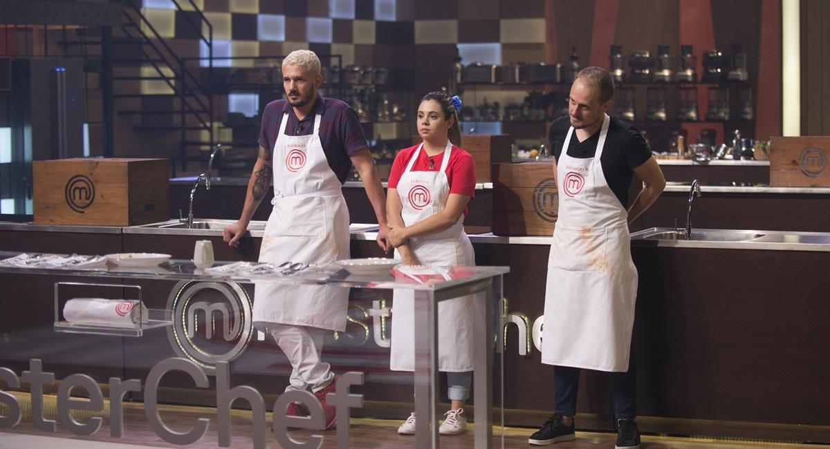 Band/Divulgação. Rodrigo, Lorena e Eduardo disputaram a semifinal do MasterChef