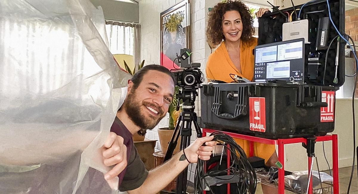 Fabiula Nascimento e Emilio Dantas no set de gravação de Amor e sorte