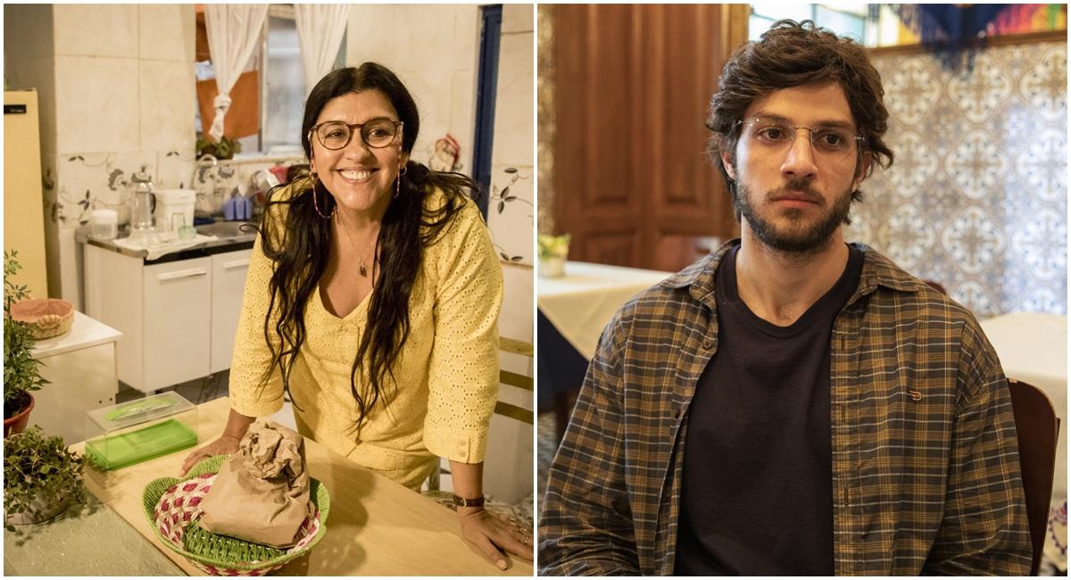 Regina Casé e Chay Suede como Lurdes e Danilo em Amor de mãe