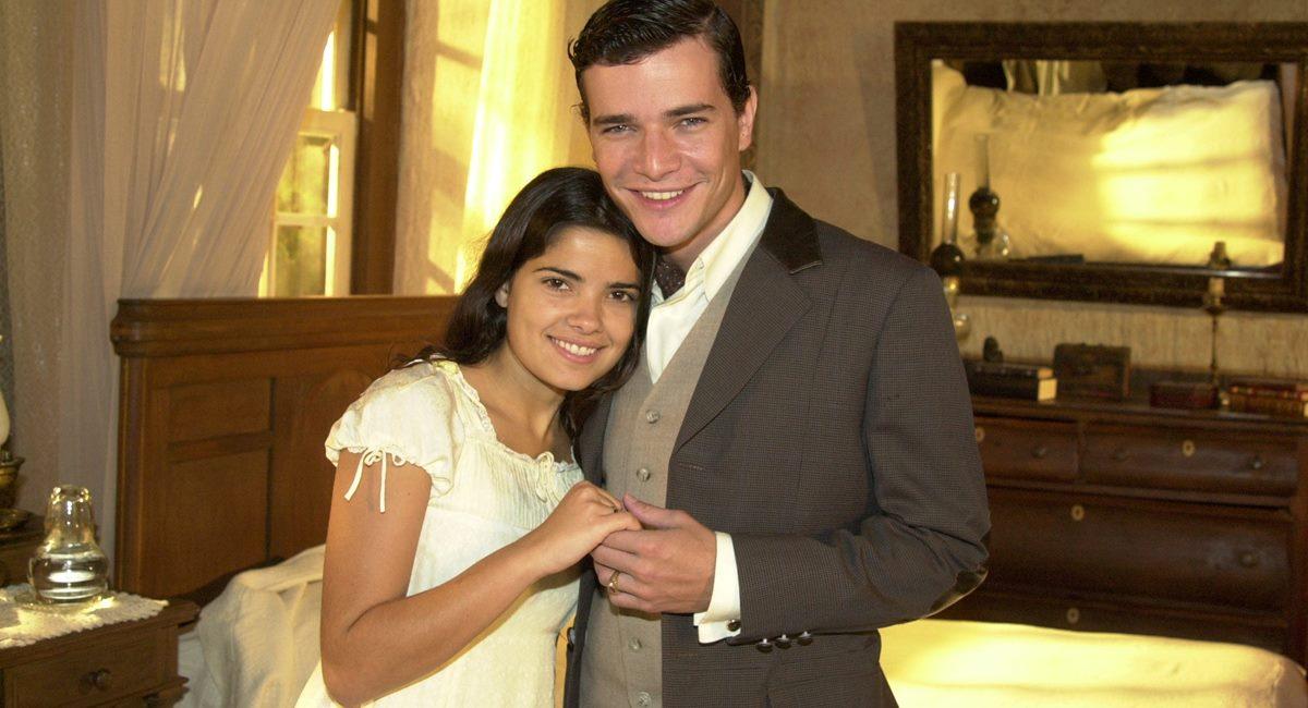 Vanessa Giácomo e Daniel de Oliveira como Zuca e Luís Jerônimo na novela Cabocla