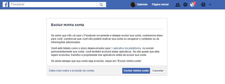 como excluir minha conta do facebook